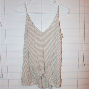 White and beige striped tank